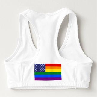ゲイプライドの虹の米国旗はブラを遊ばします スポーツブラ