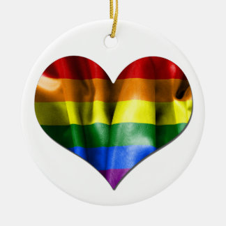 ゲイプライド愛ハートの旗の円形のクリスマスのオーナメント セラミックオーナメント