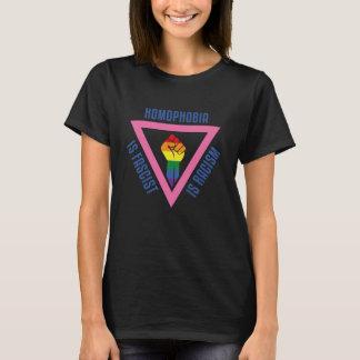 ゲイプライド-ピンクの三角形Version.2の上げられた握りこぶし Tシャツ