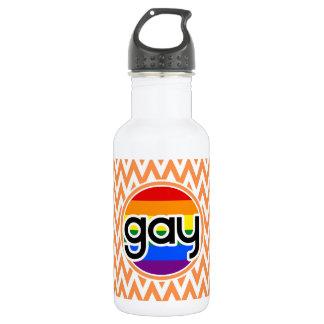 ゲイ; オレンジおよび白いシェブロン ウォーターボトル
