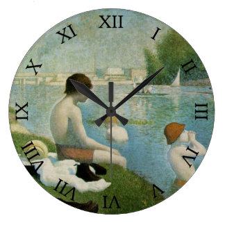 ゲオルゲスSeurat著Asnieresの水浴者 ラージ壁時計