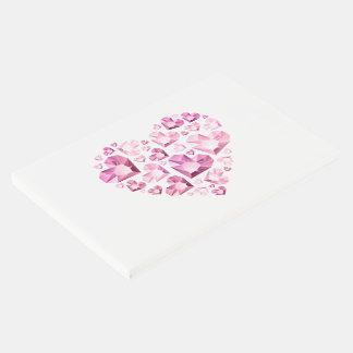 ゲストの本ピンクの宝石で飾られたハート ゲストブック