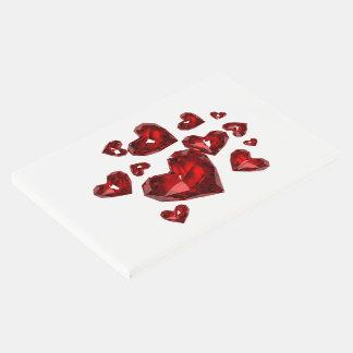 ゲストの本赤い宝石で飾られたハート ゲストブック