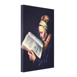 ゲリットドウ-老女の読書のポートレート キャンバスプリント