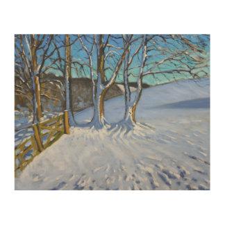 ゲートおよび木の冬は車線ダービーシャー2013年を遮ぎります ウッドウォールアート