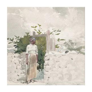 ゲート、バハマを待機している女性 キャンバスプリント