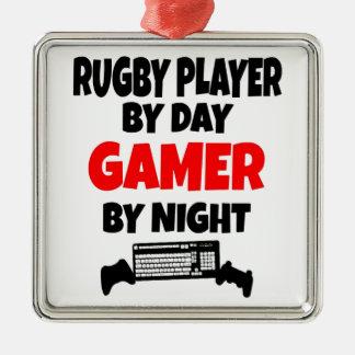 ゲーマーのラグビープレーヤー メタルオーナメント
