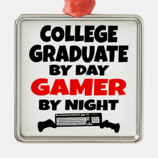 ゲーマーの大学卒業生 シルバーカラー正方形オーナメント