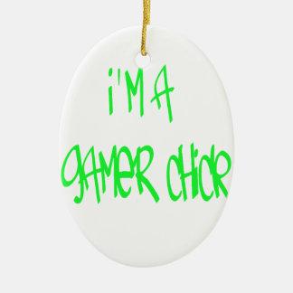 ゲーマーの女の子(緑) セラミックオーナメント