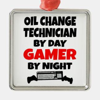 ゲーマーの油変更の技術者 メタルオーナメント