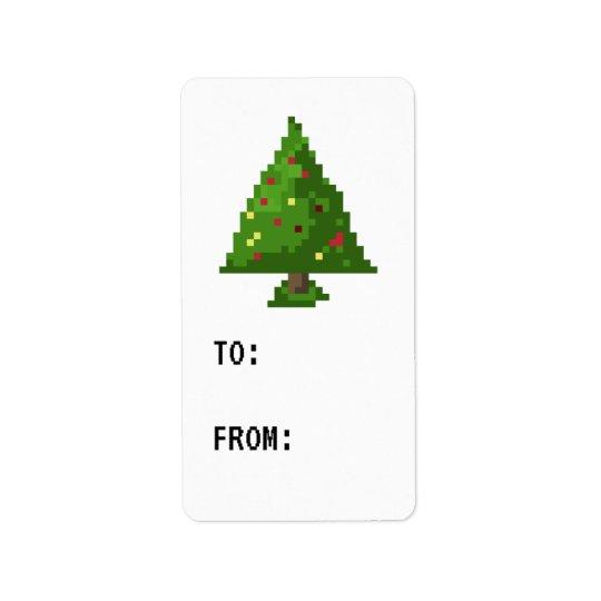 ゲーマーピクセルクリスマスツリーのステッカーのギフトのラベル 宛名ラベル