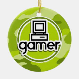 ゲーマー; 若草色の迷彩柄、カムフラージュ セラミックオーナメント