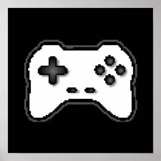 ゲームのコントローラーの白黒8bitのビデオゲームのスタイル ポスター