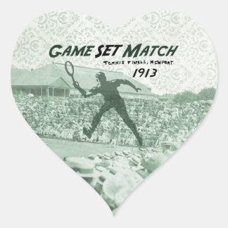 ゲームの一定のマッチ: ヴィンテージのテニスポスター ハートシール
