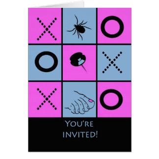 ゲーム夜招待状、おもしろいなTic TACのつま先カード カード
