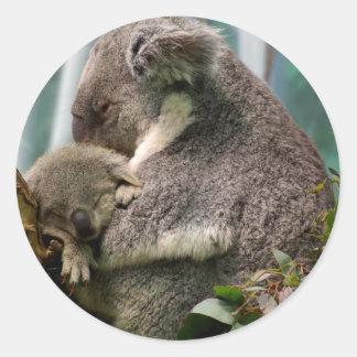 コアラのお母さんおよび新生児 ラウンドシール