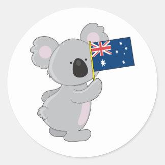 コアラのオーストラリア人の旗 ラウンドシール