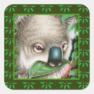コアラのヒイラギの葉のクリスマスのステッカー スクエアシール