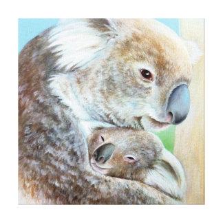 コアラの抱擁のキャンバスの芸術の正方形のプリント キャンバスプリント
