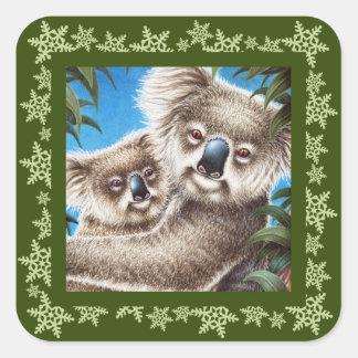 コアラの雪片のクリスマスのステッカー スクエアシール