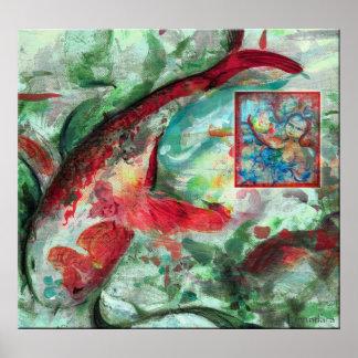 コイのコイの魚の絵画 ポスター