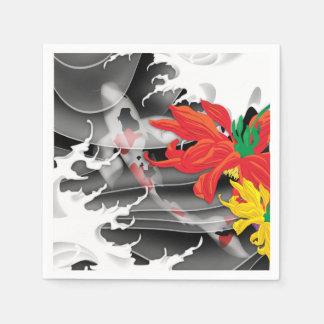 コイの入れ墨: 伝統的な日本人のデザイン スタンダードカクテルナプキン