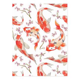 コイの桜パターン ポストカード