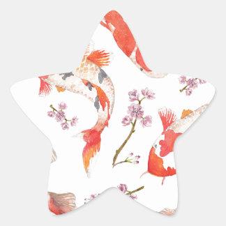 コイの桜パターン 星シール
