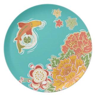 コイの版の日本のな庭のコレクション プレート