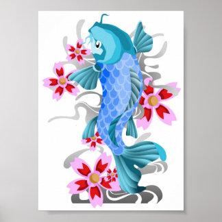 コイの魚および花 ポスター