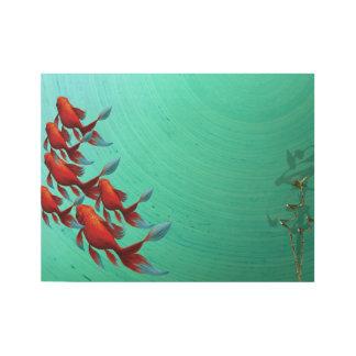 コイの魚のコイのデジタルアジア芸術 ウッドポスター