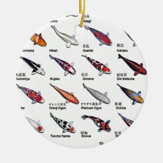 コイの魚のスケッチパターンのカラフルな変化 セラミックオーナメント