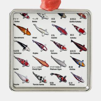 コイの魚のスケッチパターンのカラフルな変化 メタルオーナメント