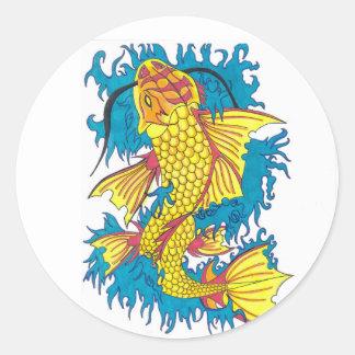 コイの魚のステッカー ラウンドシール