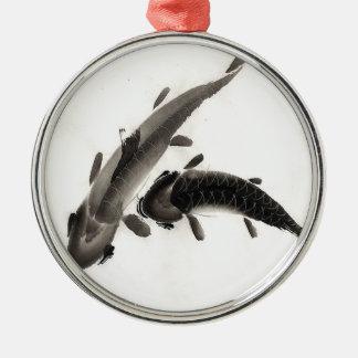 コイの魚の水彩画 メタルオーナメント