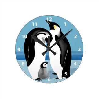 コウテイペンギンの時計 ラウンド壁時計