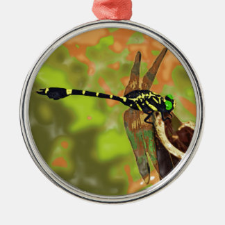 コオニヤンマ dragonfly シルバーカラー丸型オーナメント