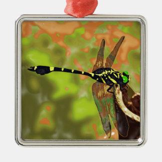 コオニヤンマ dragonfly シルバーカラー正方形オーナメント