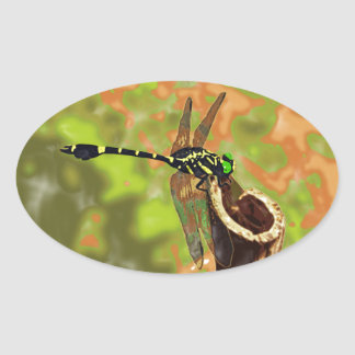 コオニヤンマ dragonfly 卵形シール・ステッカー