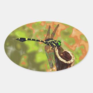 コオニヤンマ dragonfly 楕円形シール