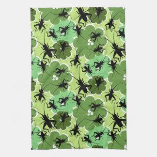 コオロギ花パターン緑 + 黒 キッチンタオル