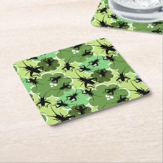 コオロギ花パターン緑 + 黒 スクエアペーパーコースター