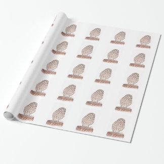 コキンメフクロウの水彩画の包装紙 ラッピングペーパー