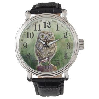 コキンメフクロウの水彩画 腕時計