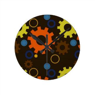 コグ及びギアの(ブラウンでオレンジ)柱時計 ラウンド壁時計