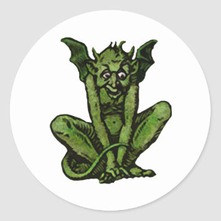 コケむした小さい緑の小悪魔の人 ラウンドシール