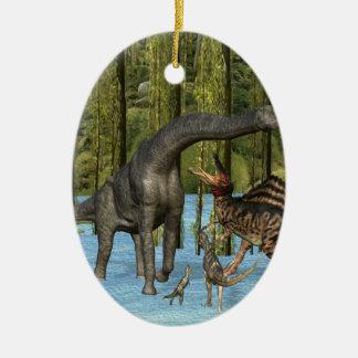 コケむした泥地のジュラ紀の恐竜 セラミックオーナメント