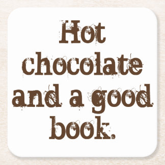 「ココアおよびよい本」のコースター スクエアペーパーコースター