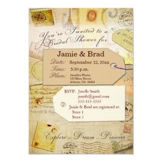 ココアおよびクリームの花嫁旅行シャワーのテーマ カード