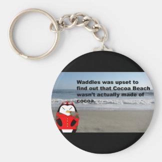 ココアのよたよた歩きはキーホルダーを浜に引き上げます ベーシック丸型缶キーホルダー